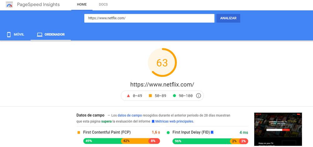 Velocidad de carga - Page Speed Insights